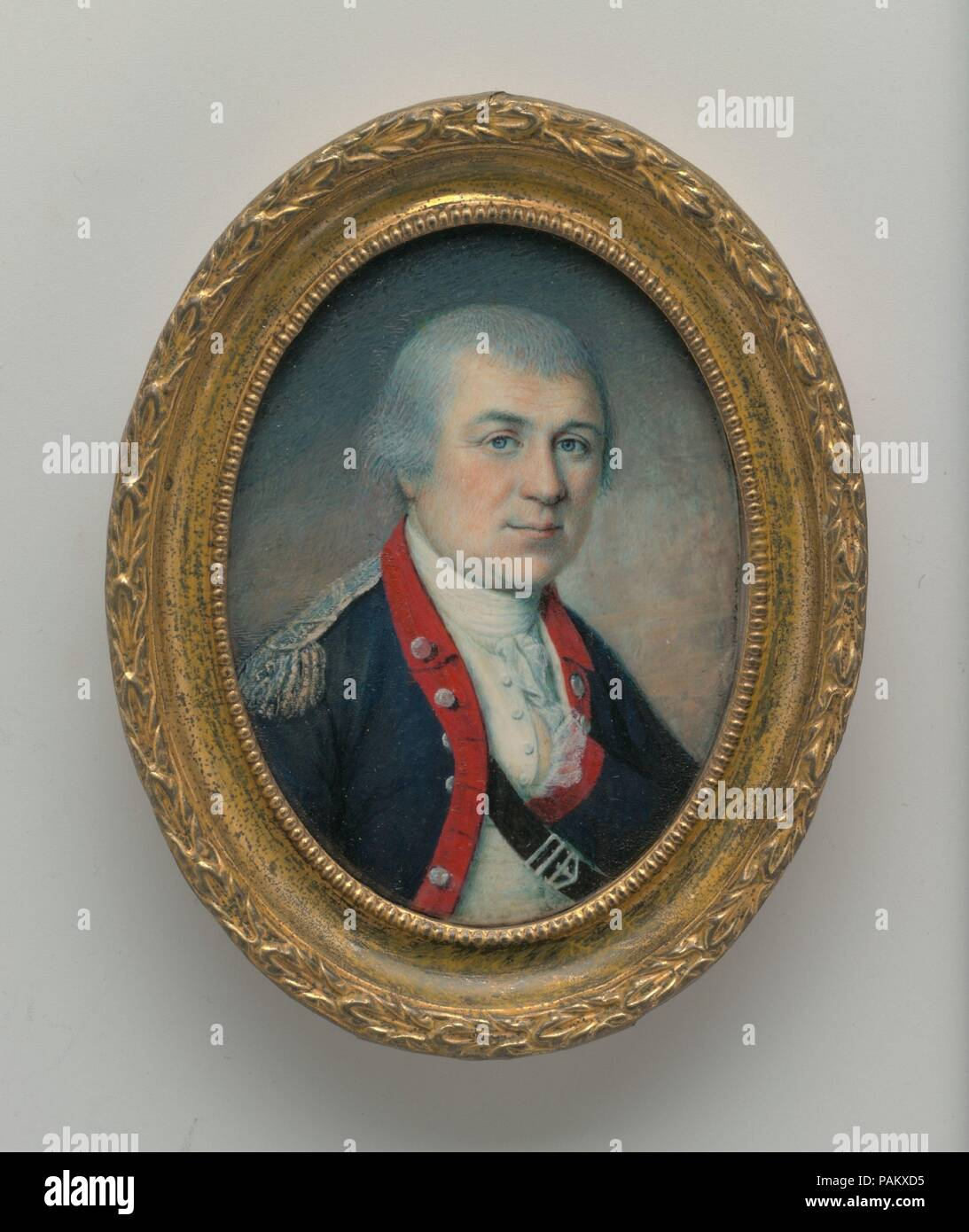 General Henry Knox. Artist: Charles Willson Peale (American, Chester, Maryland 1741-1827 Philadelphia, Pennsylvania). Dimensions: 2 7/8 x 2 1/8 in. (7.3 x 5.2 cm). Date: 1778.  The sitter (1750-1806), a Boston bookseller and artillery expert who would achieve fame in General Washington's army, was painted by Peale at Valley Forge in late May 1778, just before the Battle of Monmouth. Museum: Metropolitan Museum of Art, New York, USA. Stock Photo