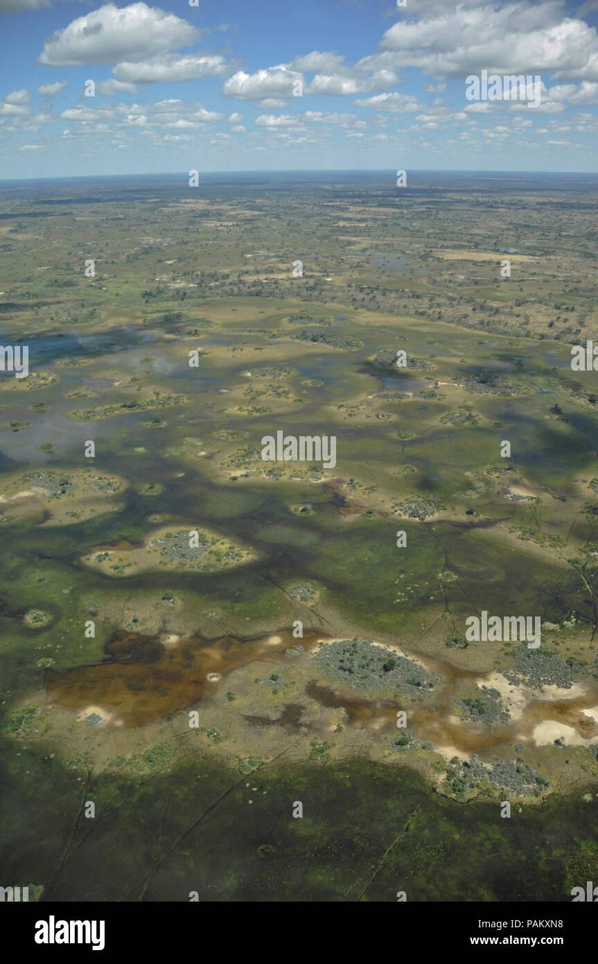 Botswana: Airshot from the Okavango delta swamps in the Central-Kalahari - Stock Image