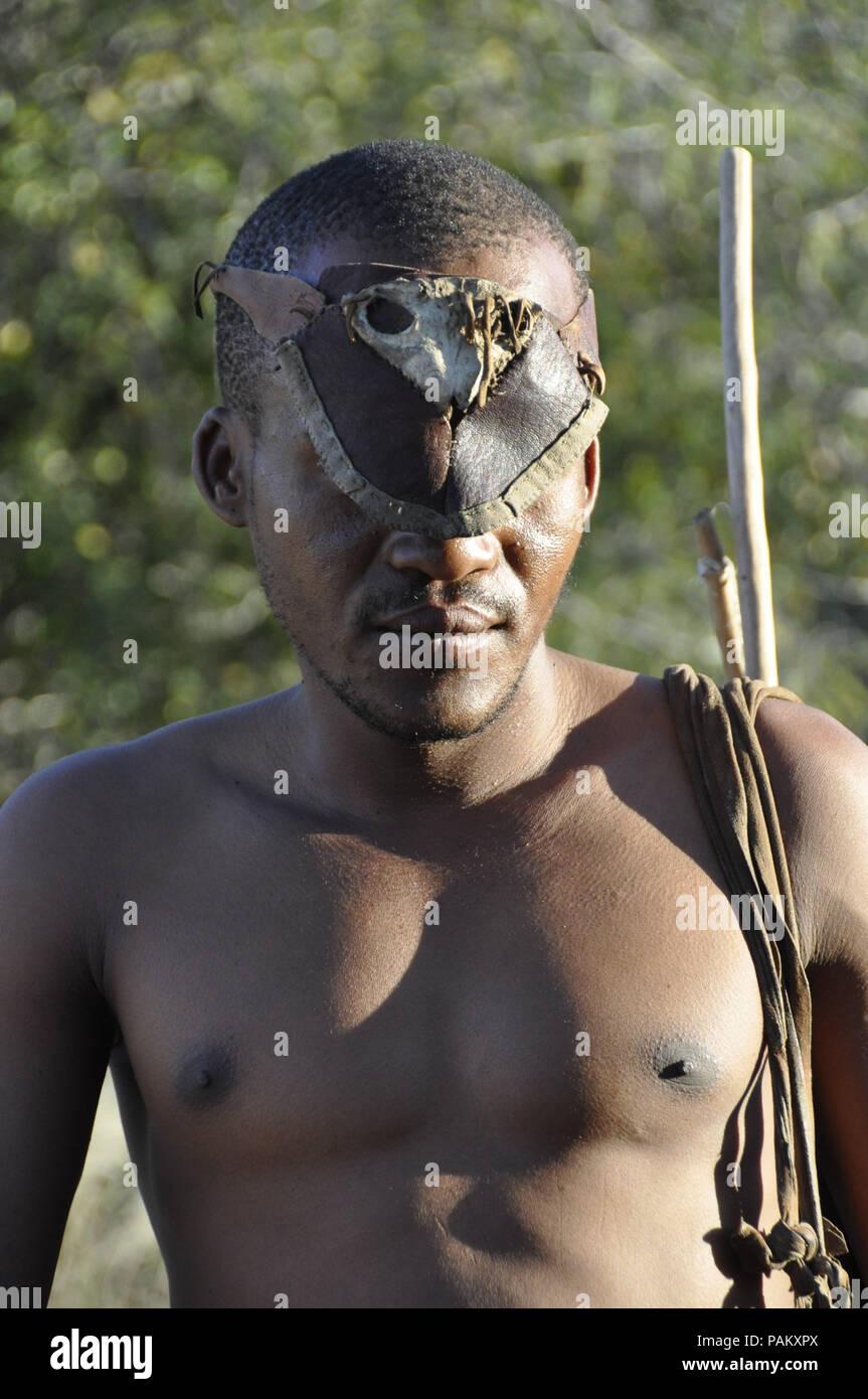 Naro-Bushmen near Ghanzi in the Central Kalahari of Botswana - Stock Image