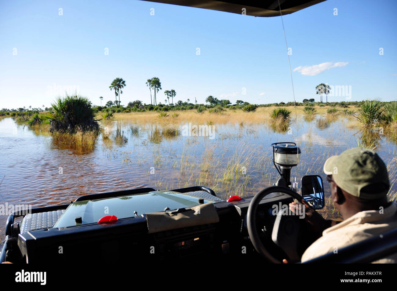 Adventure & Adrenalin pur: Okavango-Delta swamps crossing with a landrover, which faced the biggest floods since 46 years. - Stock Image