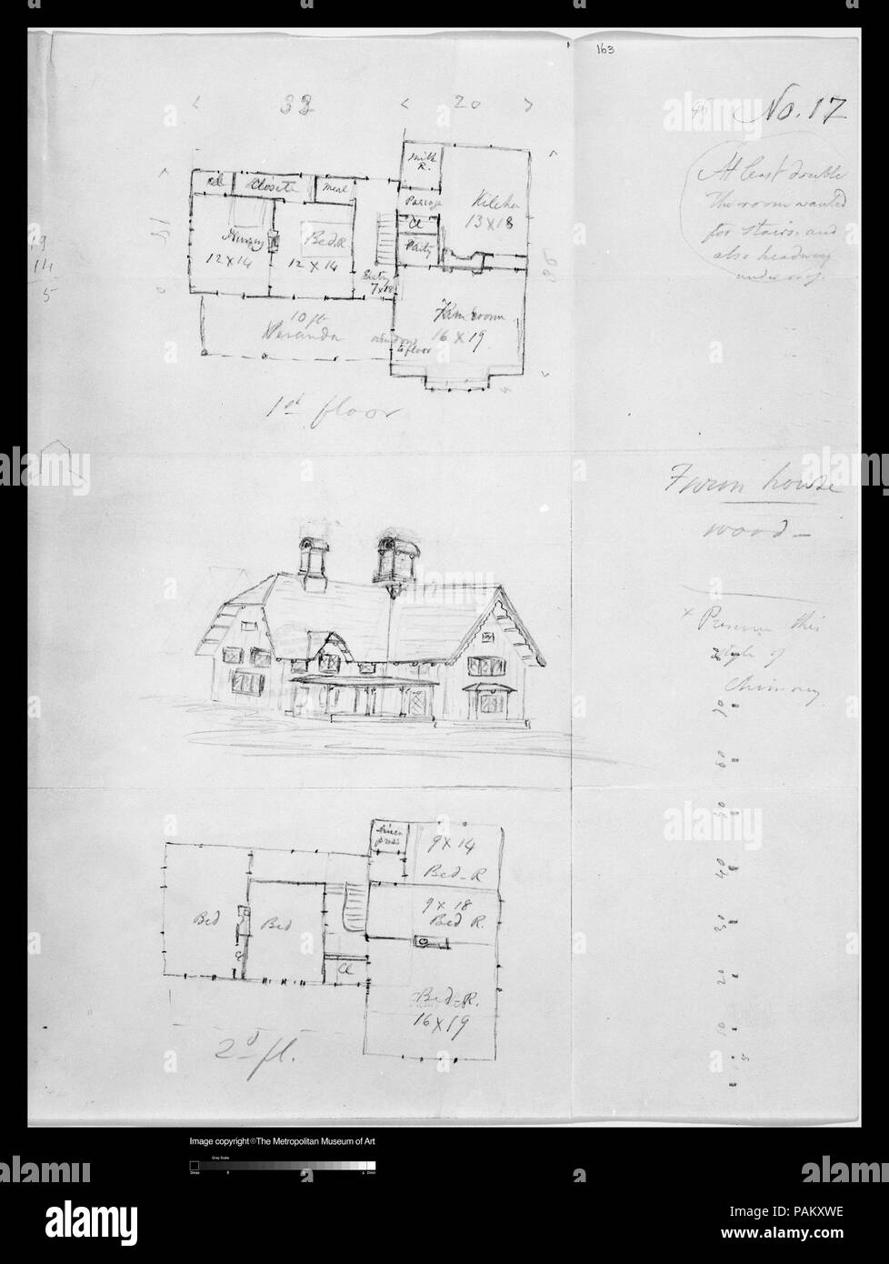 Design for Bracketed American Farm House, Design XVII from The Architecture of Country Houses. Artist: Alexander Jackson Davis (American, New York 1803-1892 West Orange, New Jersey). Dimensions: sheet: 10 1/16 x 7 15/16 in. (25.5 x 20.1 cm). Date: ca. 1850. Museum: Metropolitan Museum of Art, New York, USA. - Stock Image