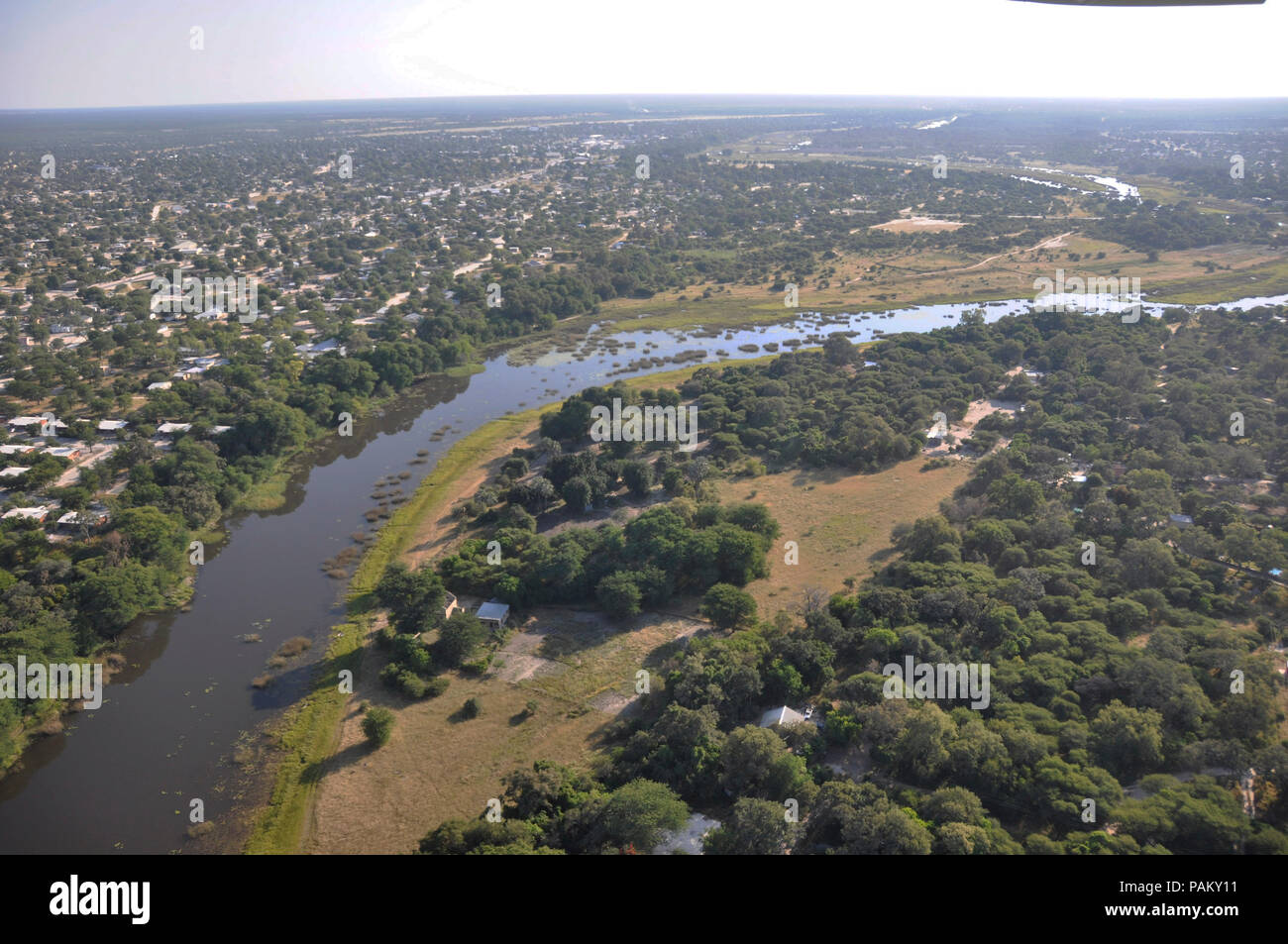 Airshot: Maun-City at the boarder of the Okavango-Delta river in the Central-Kalahri. - Stock Image