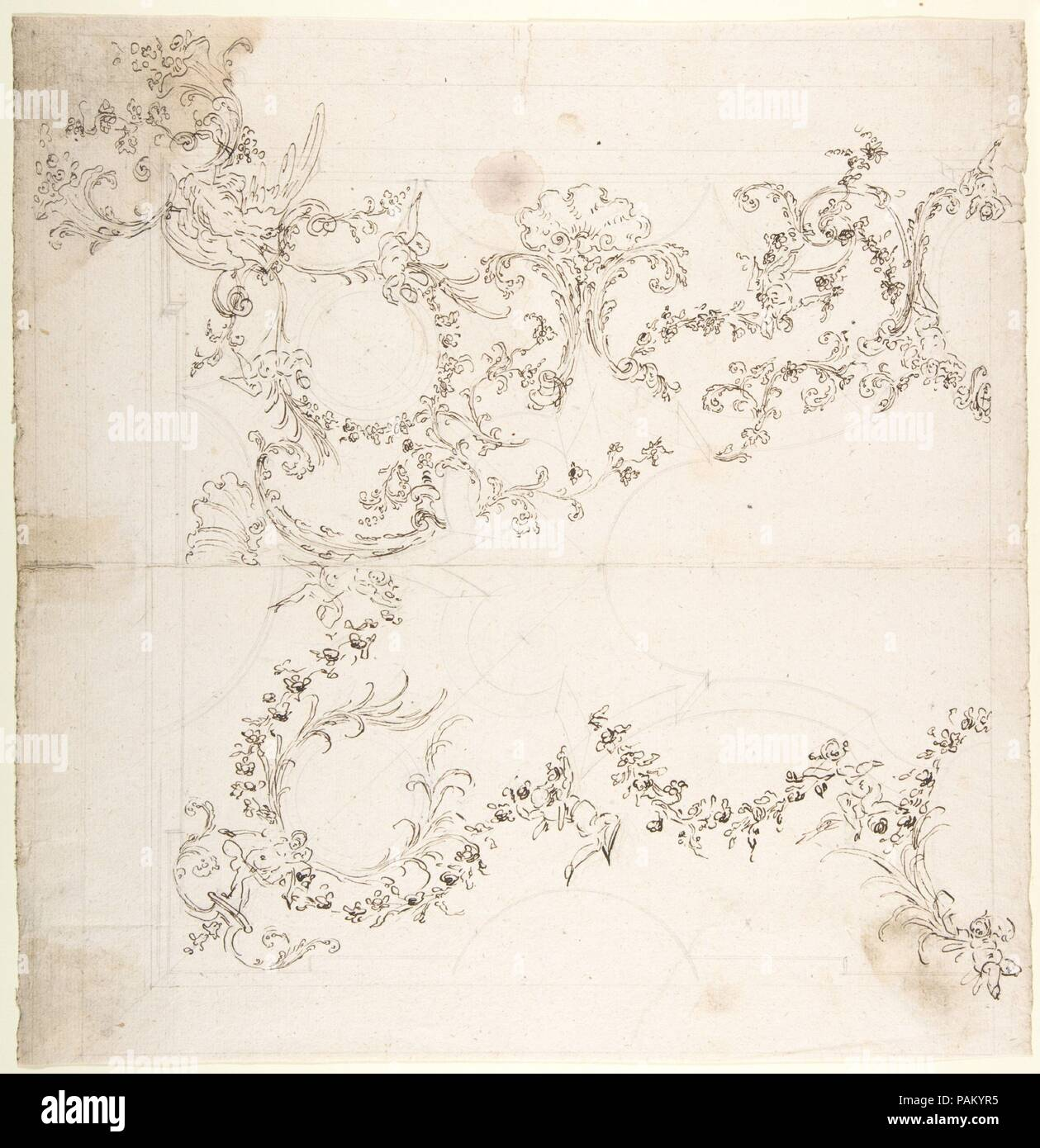 Design for a Ceiling Decoration with Putti and Garland Motifs. Artist: Attributed to Donato Giuseppe Frisoni (Italian, Laino near Como 1683-1735 Ludwigsburg). Dimensions: 13 5/16 x 12 15/16in. (33.8 x 32.8cm). Date: 1709-20. Museum: Metropolitan Museum of Art, New York, USA. - Stock Image