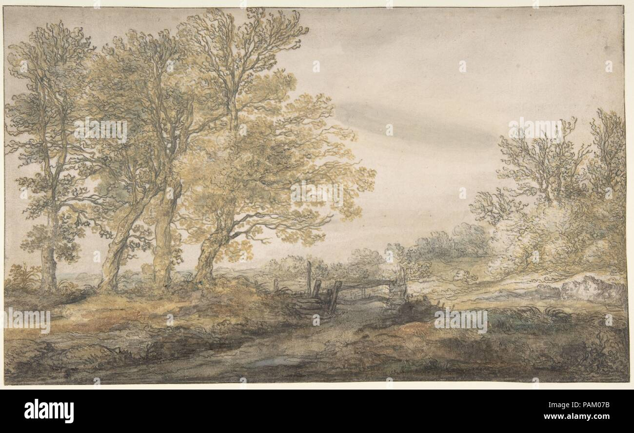 Landscape with Trees. Artist: Aelbert Cuyp (Dutch, Dordrecht 1620-1691 Dordrecht). Dimensions: 7 3/8 x 12 1/8 in.  (18.7 x 30.8 cm). Date: 1635-91.  Cuyp's looped and choppy lines, plumped up with touches of color, bring us the beauty of the Dutch countryside in summer, when warm light flickers through twigs and foliage. Cuyp was probably in his early twenties when he made this fine sheet. It belongs to a group of drawings executed in and around Utrecht, his mother's hometown. The artist would have visited that city on a number of occasions, because it is also where his father, Jacob Gerritz,  - Stock Image