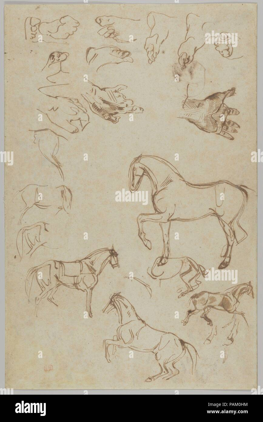 Nineteen Studies of Horses, Hands, and Feet (r.); Studies of Heads and  Figures (v.). Artist: Eugène Delacroix (French, Charenton-Saint-Maurice  1798-1863 ...