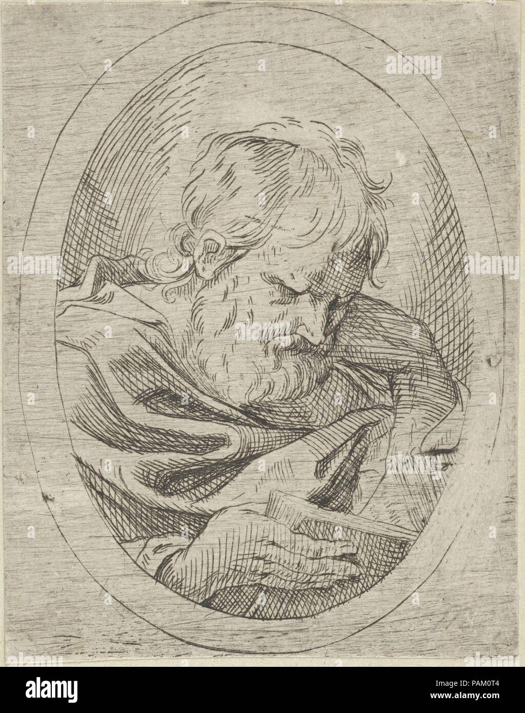 An apostle resting his head on his left hand and reading a book, in ...
