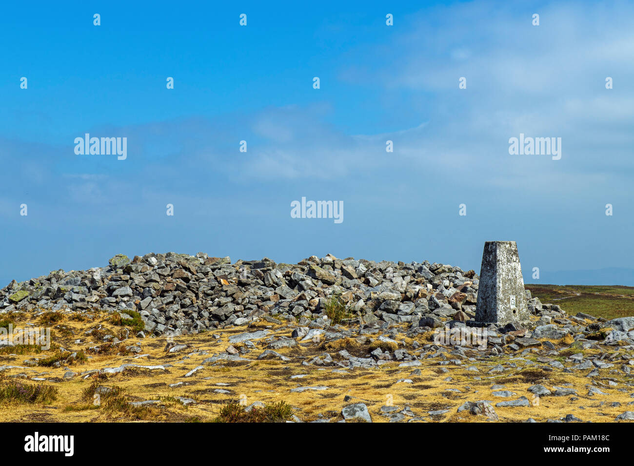 The Trig Point and Cairn on the summit of The Blorenge - Stock Image