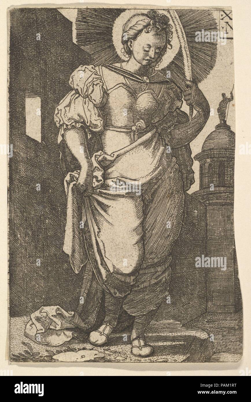 St. Barbara. Artist: Nikolaus Hogenberg (Netherlandish, Munich ca. 1500-1539 Mechelen). Dimensions: sheet: 4 5/8 x 3 1/16 in. (11.8 x 7.8 cm). Date: 1525. Museum: Metropolitan Museum of Art, New York, USA. - Stock Image