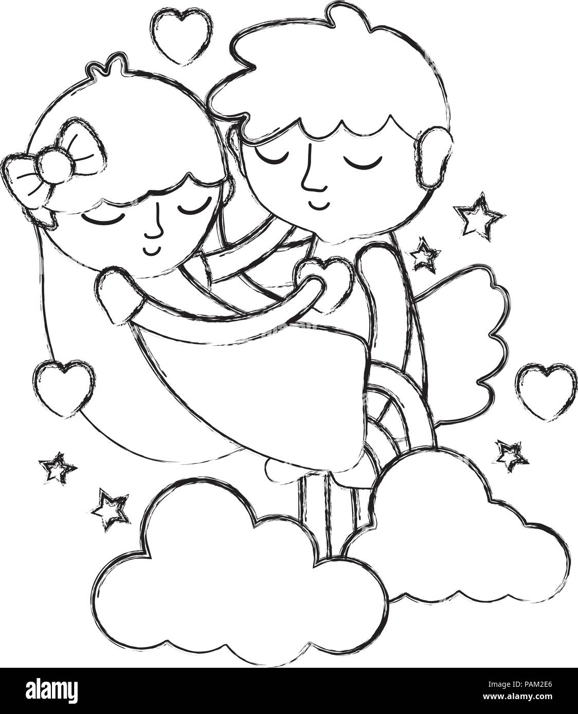 Grunge Boy And Girl Sleeping With Hearts And Clouds Stock Vector Art