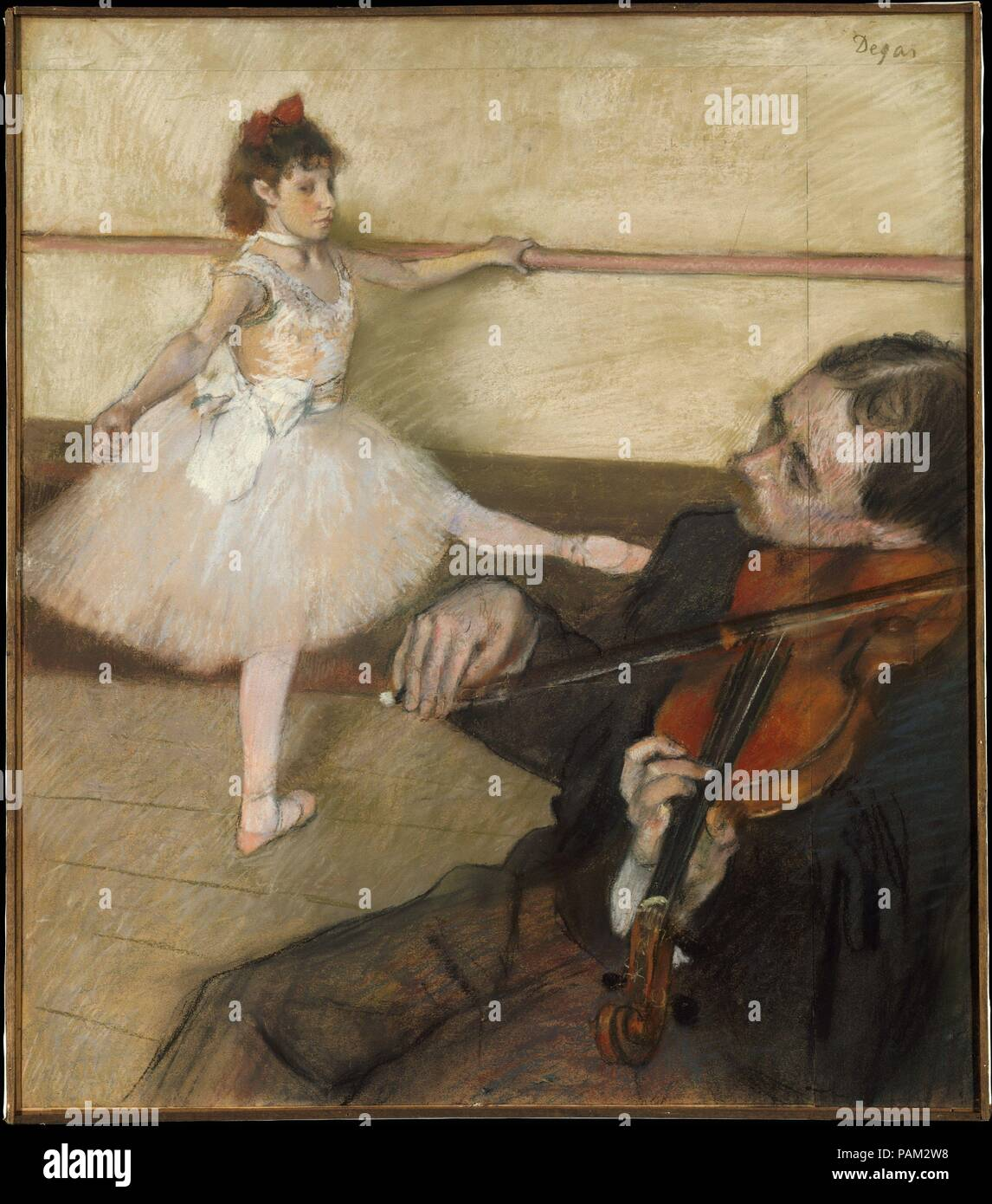 The Dance Lesson. Artist: Edgar Degas (French, Paris 1834-1917 Paris). Dimensions: 25 3/8 x 22 1/8 in. (64.5 x 56.2 cm). Date: ca. 1879.  Degas made various adjustments to this composition, presumably to accommodate the violinist in his final design. He added strips of paper at the top and to the right, and there is evidence to suggest that he may have altered the dancer's pose. A pastel study for the musician is in the Museum's collection (19.51.1). The present work was formerly owned by Gustave Caillebotte, who probably bought it from or soon after the Impressionist exhibition of 1879. In 18 - Stock Image