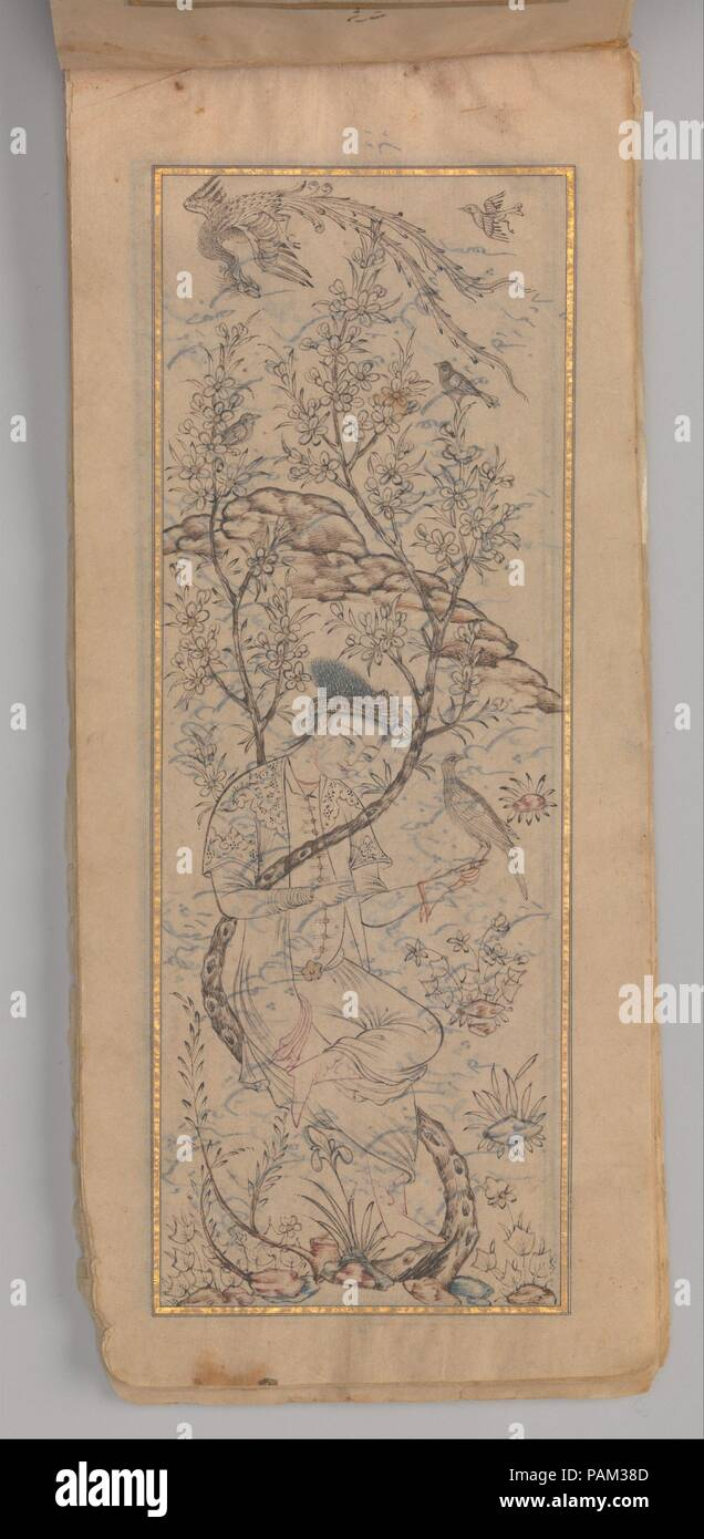 Anthology of Persian Poetry (Safina). Calligrapher: 'Abd al-'Azim al-Yahya. Dimensions: 7 1/2 x 3 1/8 in. (19.1 x 7.9 cm). Date: A.H. 1092 and 1096/ A.D 1681 and 1685.  Long, narrow books bound on the short edge are known as 'safina', a word meaning 'boat'. They were a popular form for collections of works by different  poets.  This 'safina', dated 1681 and 1685, contains poems by several Safavid poets, including 'Urfi, Tahir, and Kalim, written on extremely thin, gold-sprinkled paper and three tinted drawings in a late 16th-century style.  Here a falconer is seated in a flowering tree while a - Stock Image