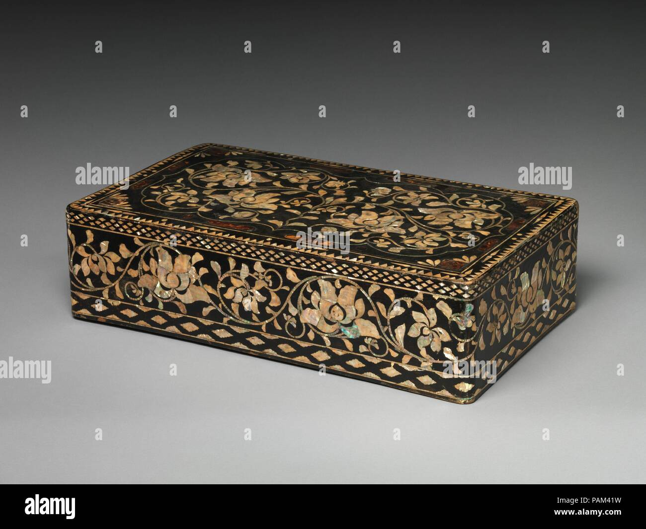 Clothing box decorated with peony scrolls  Culture: Korea