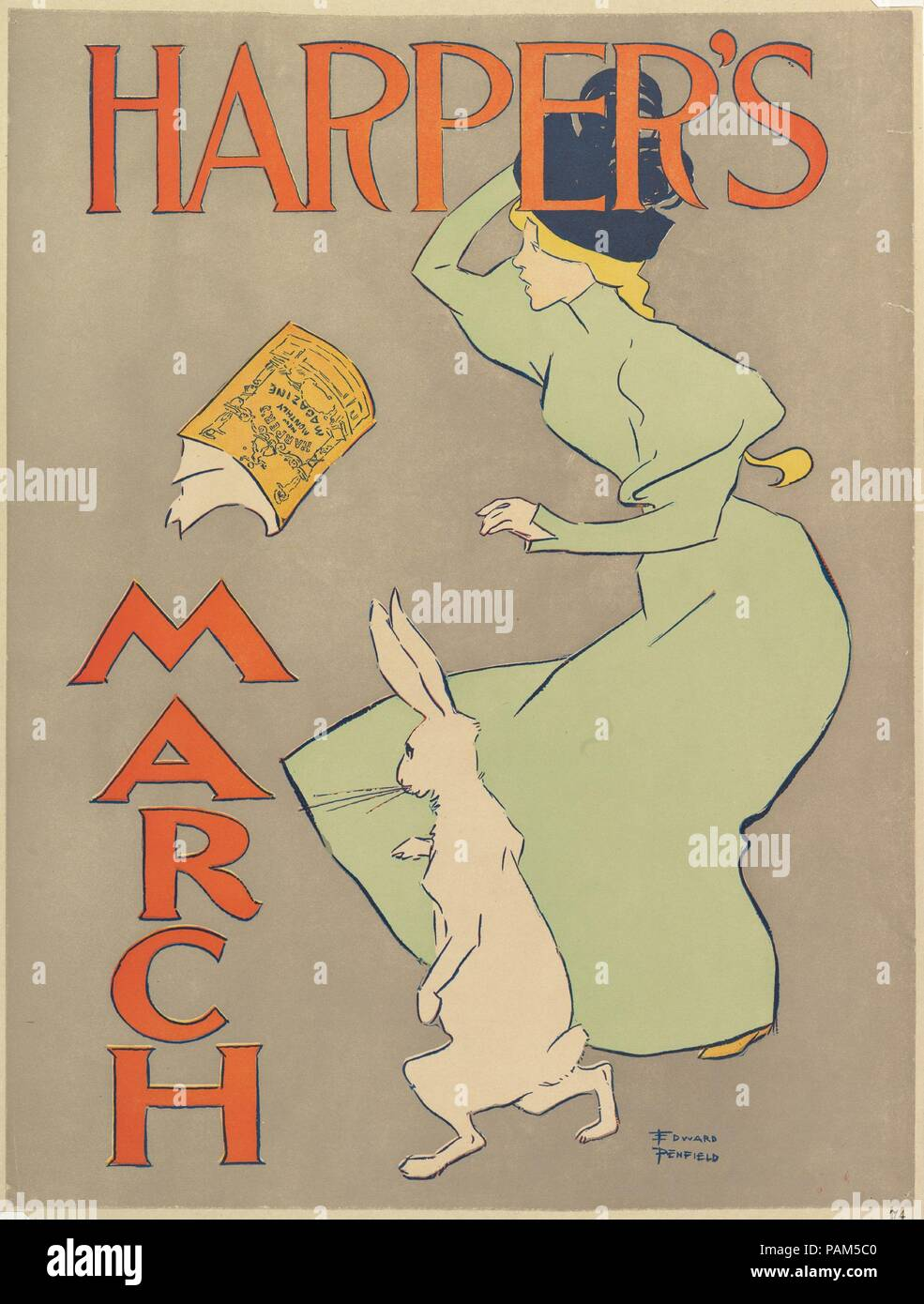 Harper's: March. Artist: Edward Penfield (American, Brooklyn, New York 1866-1925 Beacon, New York). Dimensions: Sheet: 19 1/4 × 13 13/16 in. (48.9 × 35.1 cm). Publisher: Harper and Brothers, Publishers. Date: 1895. Museum: Metropolitan Museum of Art, New York, USA. - Stock Image