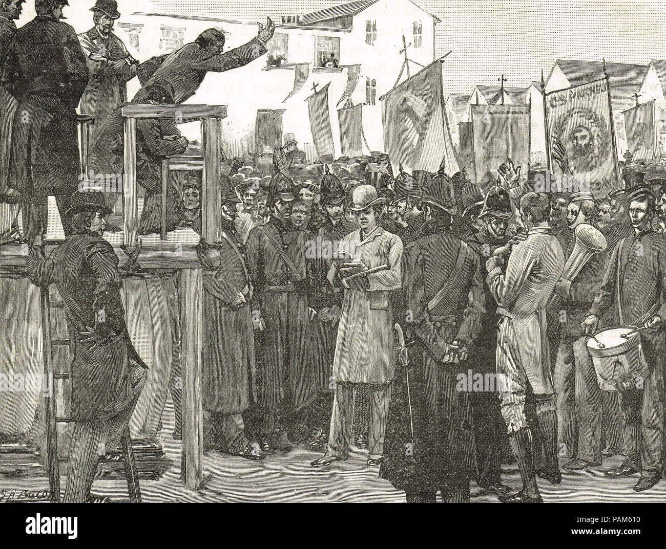 Royal Irish Constabulary protecting a government reporter, at a Plan of Campaign meeting, Ireland, 1886 - Stock Image