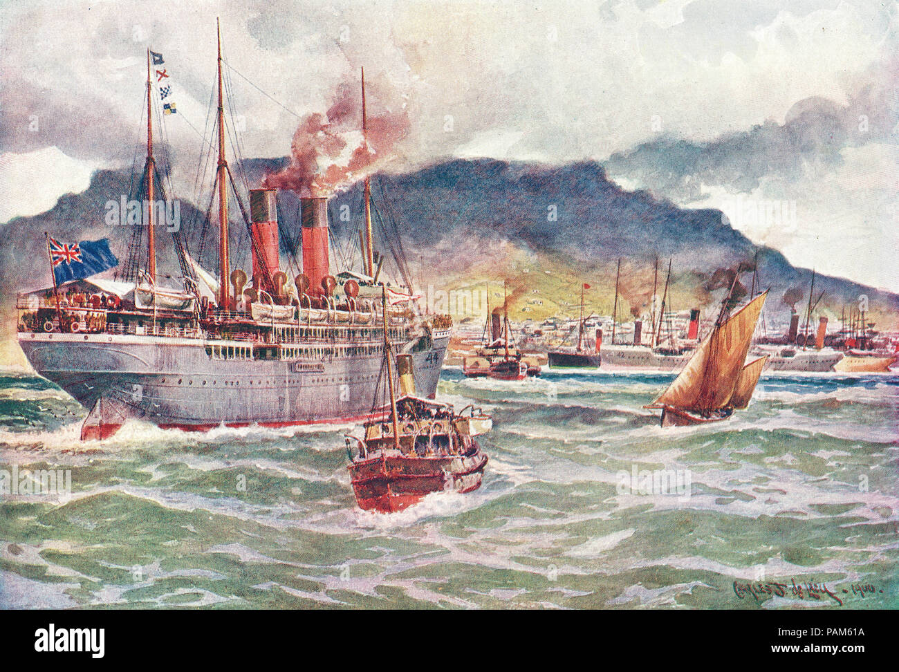 Transports in Table Bay, Cape Town, South Africa, during the South African War, AKA Second Anglo-Boer War, Second Boer War - Stock Image