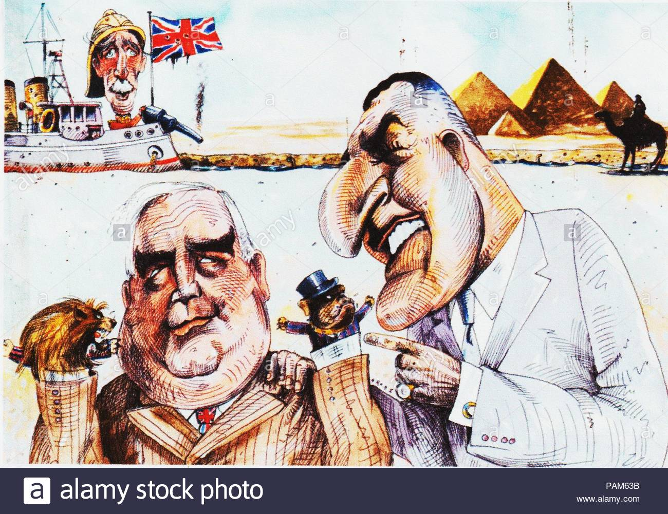Political cartoon in which British Prime Minister Robert Menzies and Egyptian President Gamal Nasser debate over the future freedom of the Suez Canal in 1956. Cartoonist unknown. - Stock Image
