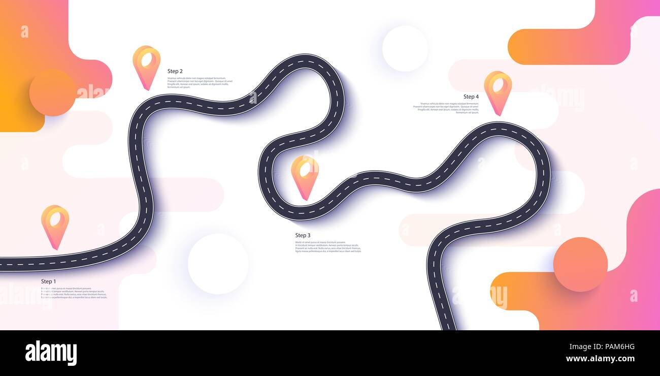 Road map and journey route infographics template. Winding road timeline illustration. Flat vector illustration. Eps 10 - Stock Vector