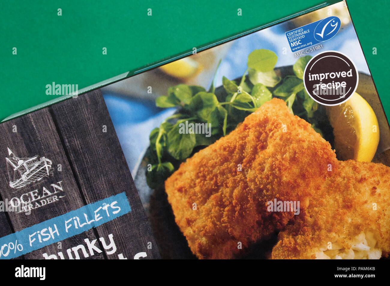 Cod fillets package with MSC certified sustainable food logo UK - Stock Image