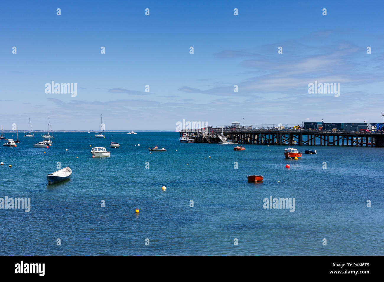 View of Swanage Bay and pier on a lovely summers afternoon during the British heatwave of 2018, Dorset, United Kingdom Stock Photo