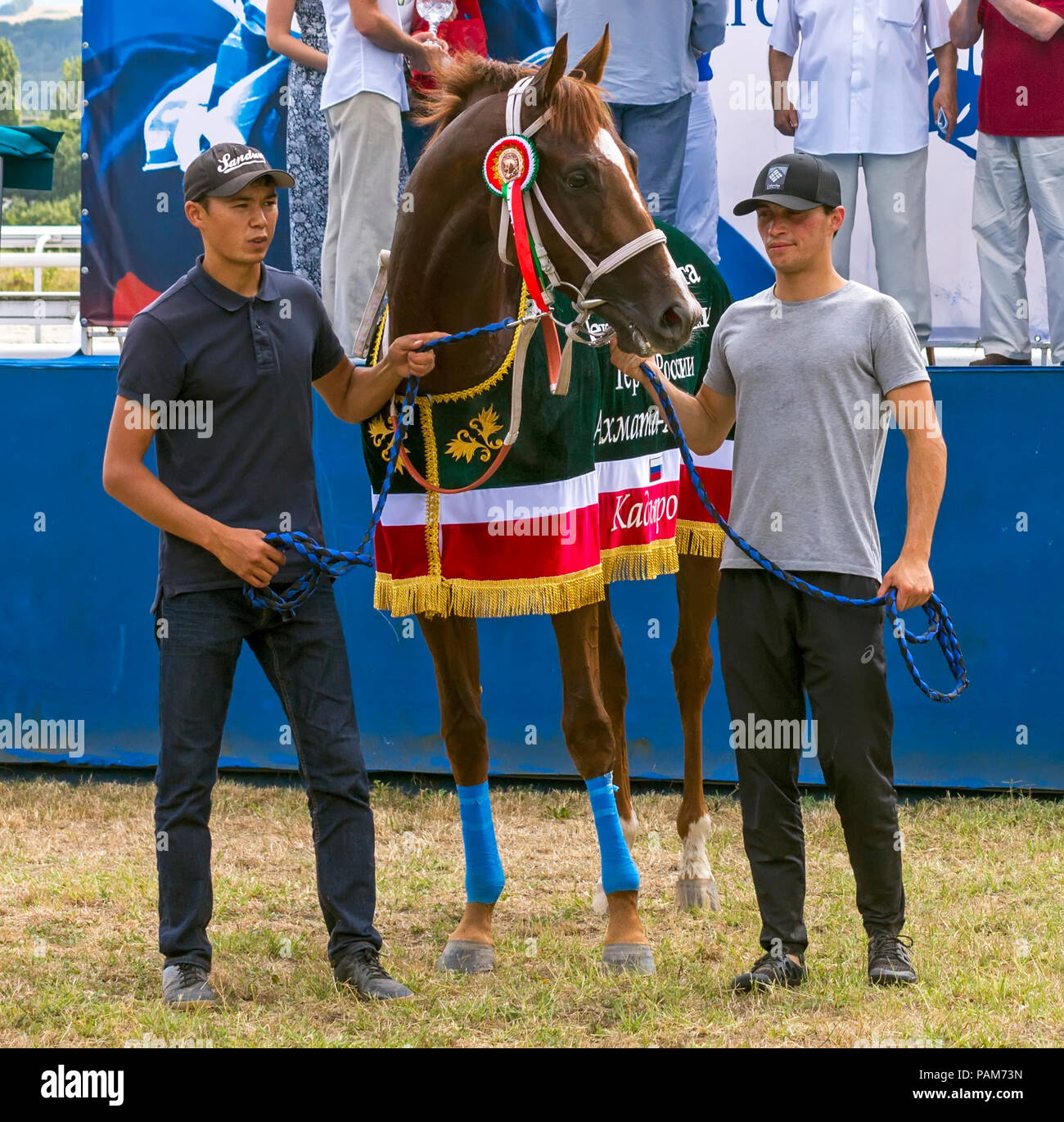 PYATIGORSK, RUSSIA - JULY 22, 2018:Winner of the prize of the First President of the Chechen Republic Akhmada  Kadyrova - Big Pyatigorsk Derby prize i - Stock Image