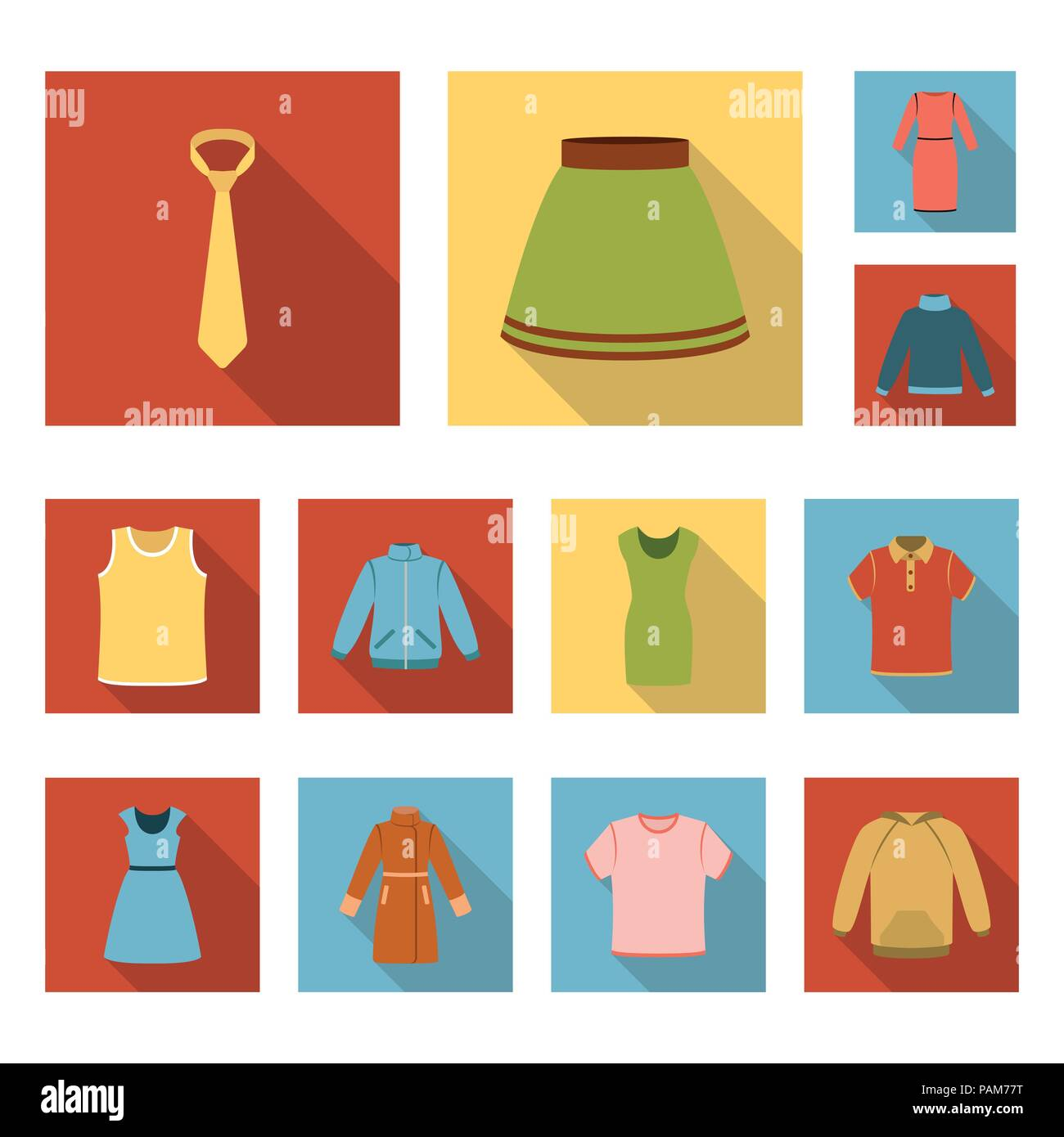 Different kinds of clothes flat icons in set collection for design. Clothes and style vector symbol stock  illustration. - Stock Vector