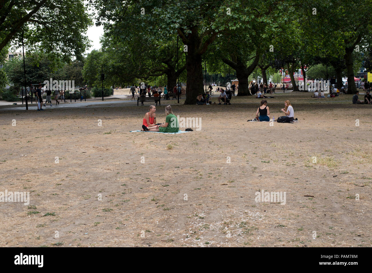 Hackney, London. London Fields. Parched earth. - Stock Image