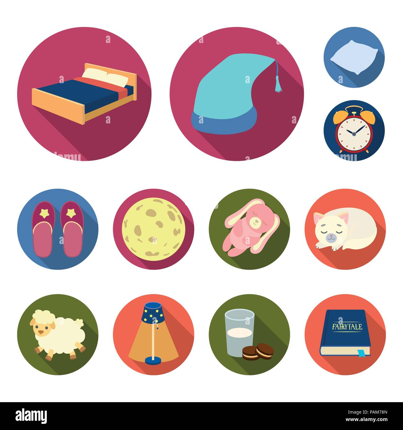 Rest And Sleep Flat Icons In Set Collection For Design Accessories