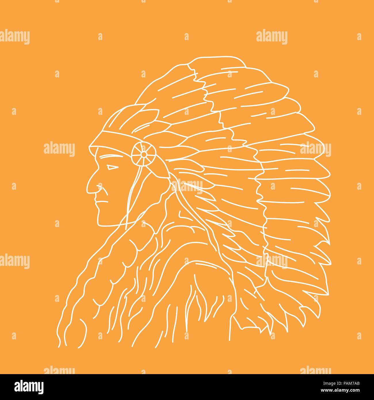 Portrait of Indian chief - head profile of tribal chief - Stock Image