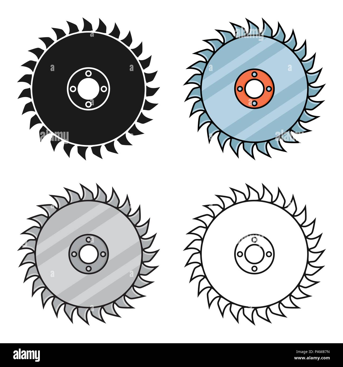 Saw disc icon in cartoon style isolated on white background. Sawmill and timber symbol vector illustration. - Stock Image