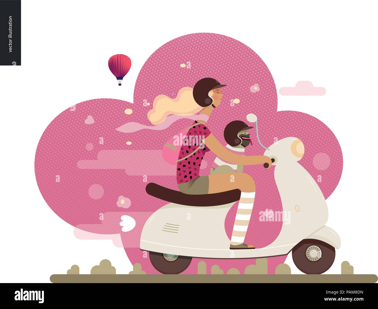 Girl on a scooter - flat vector concept illustration of blonde girl wearing helmet riding a white scooter, a french bulldog on her lap wearing small h Stock Vector