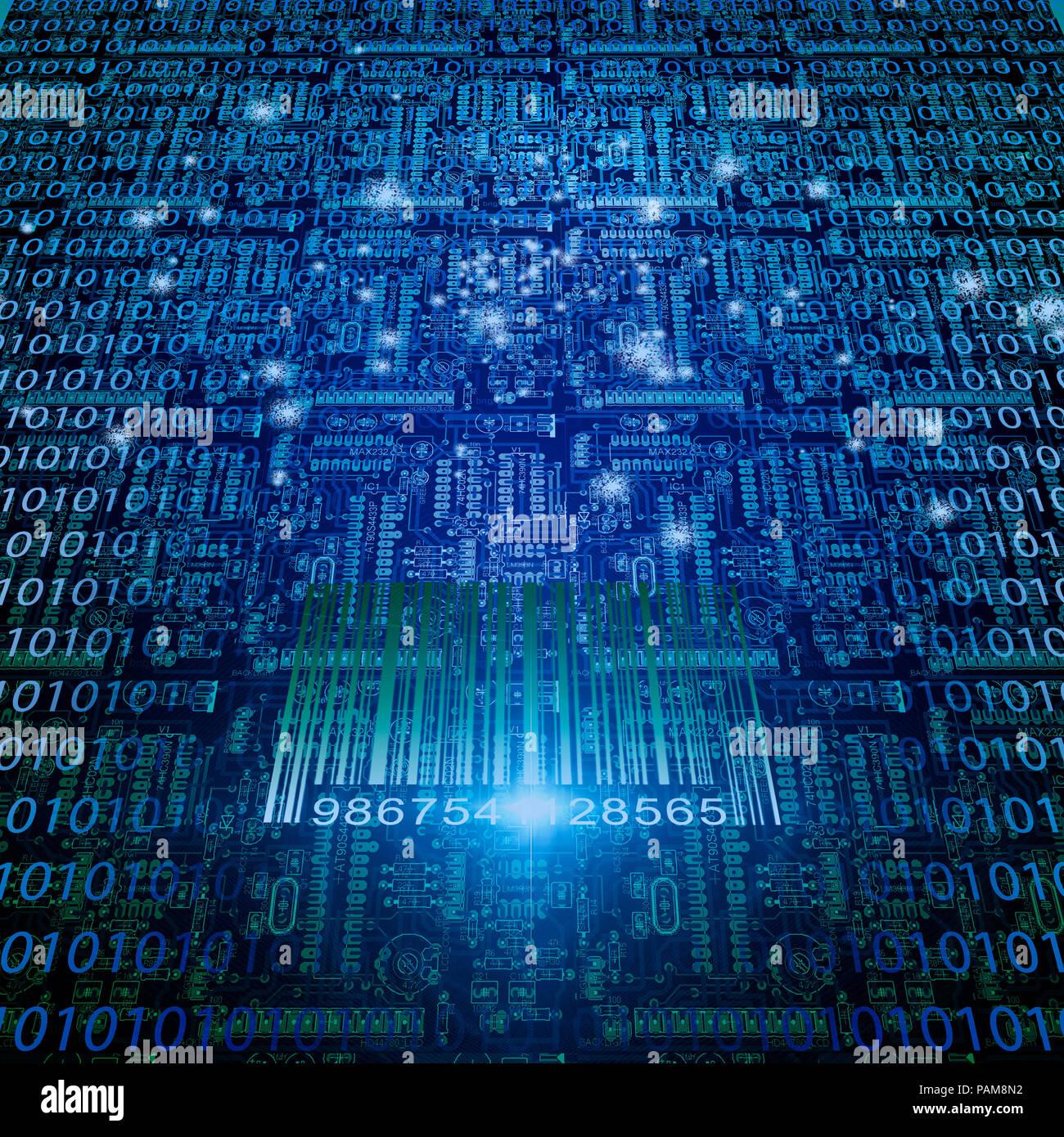 Binary code, world map and bar code. Stock Photo