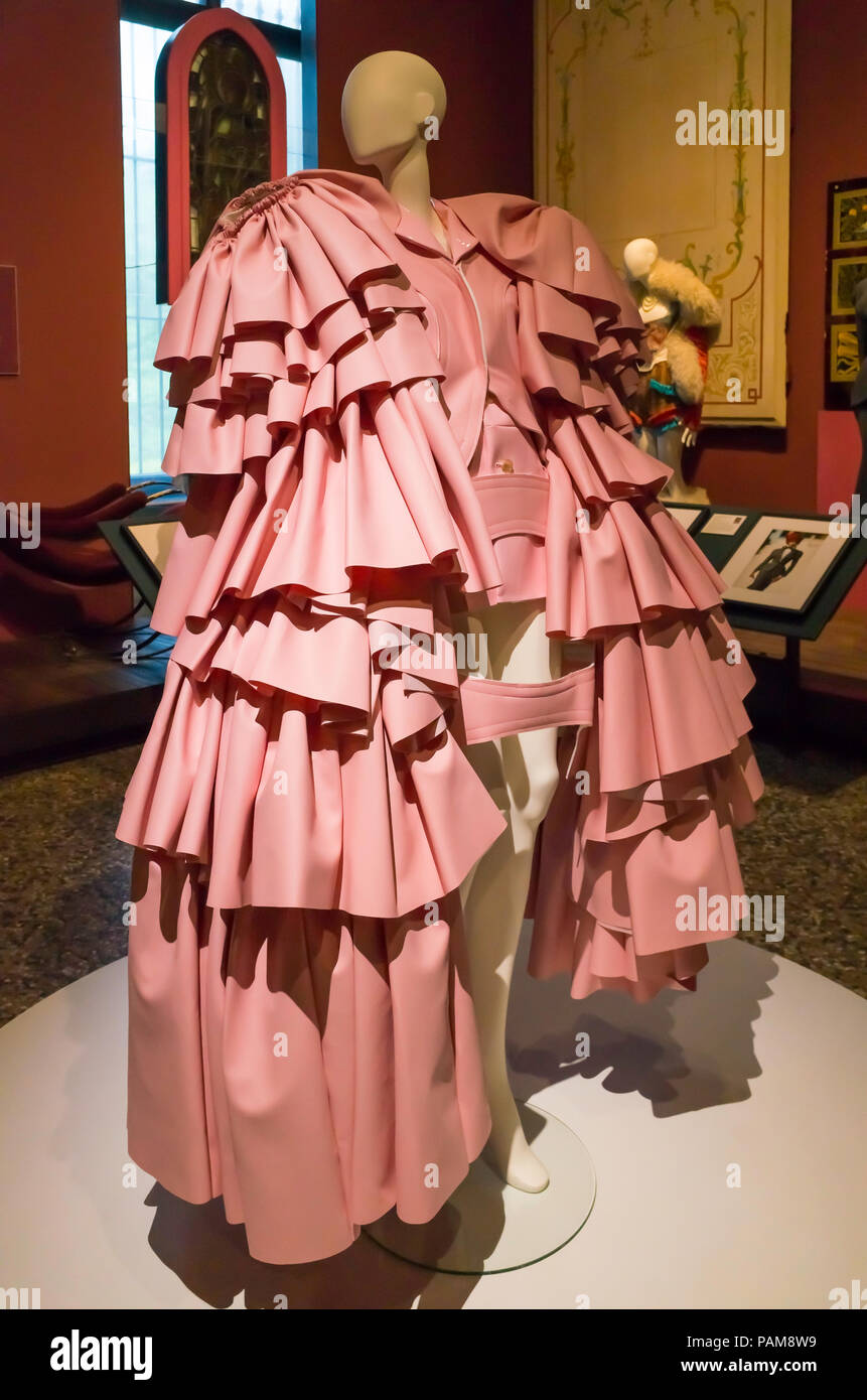 Display of a elaborate pink dress from the Comme des Garçons collection autumn winter 2016  at the Catwalk Exhibition at the Bowes Museum 2018 Stock Photo