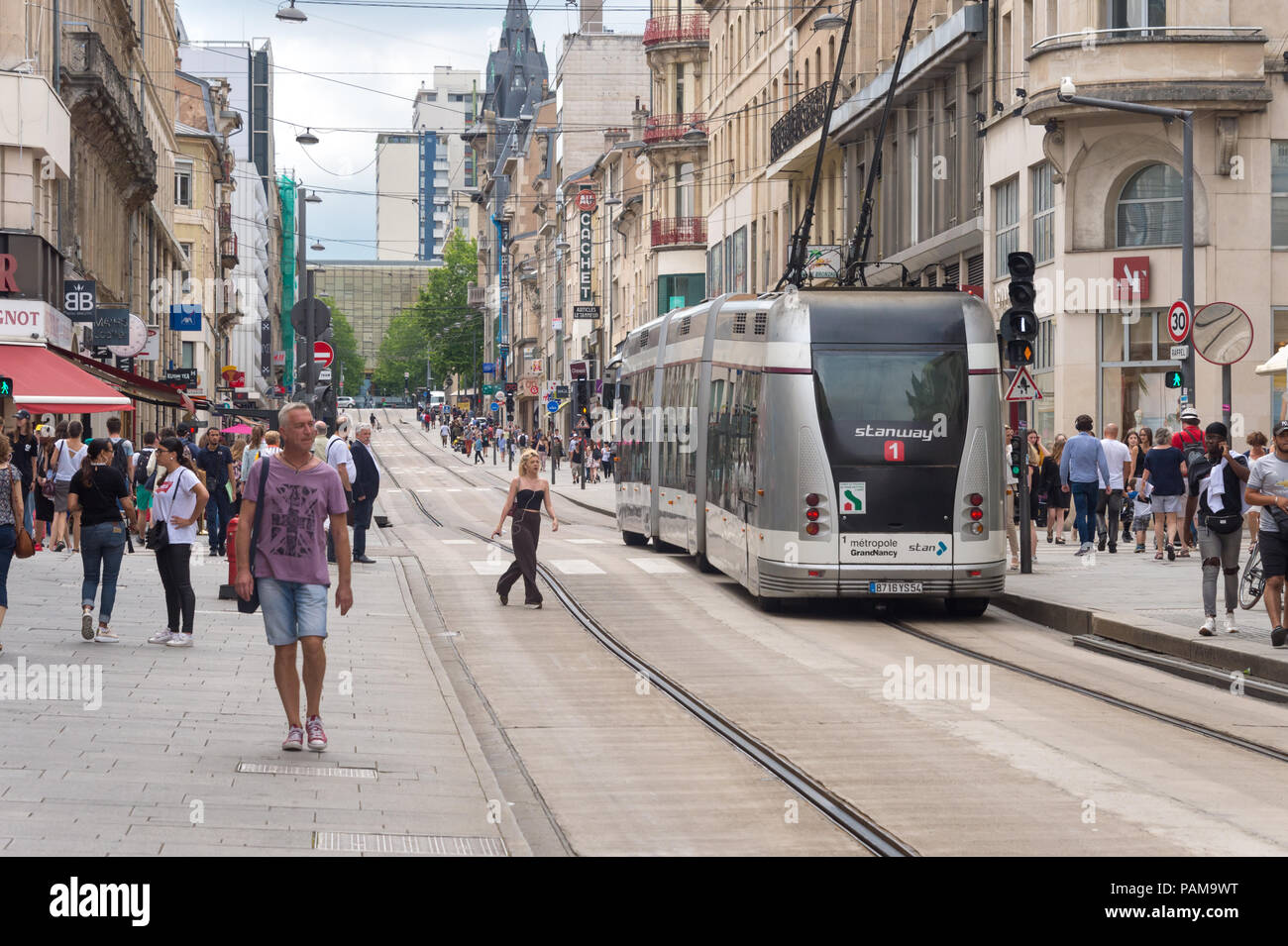 Nancy, France - 21 June 2018: Bombardier Guided Light Transit guided bus on Saint-Georges street. - Stock Image