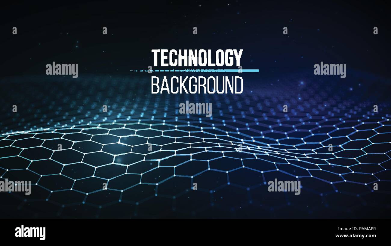 Abstract technology background. Background 3d grid.Cyber technology Ai tech wire network futuristic wireframe. Artificial intelligence . Cyber security background Vector illustration Stock Vector