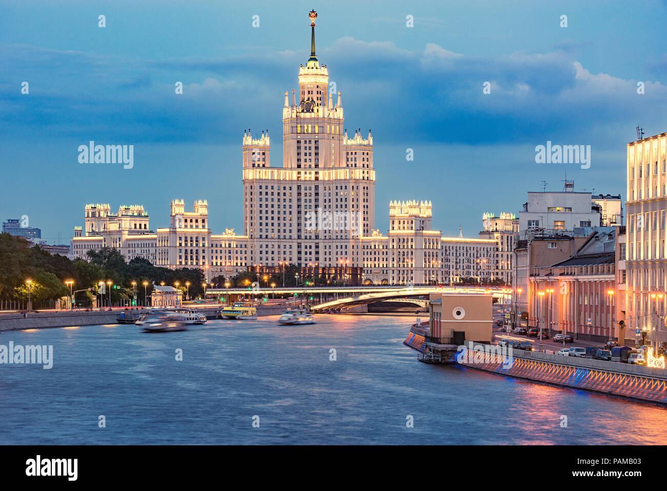 Retro skyscraper by the river. Moscow. Russia Stock Photo