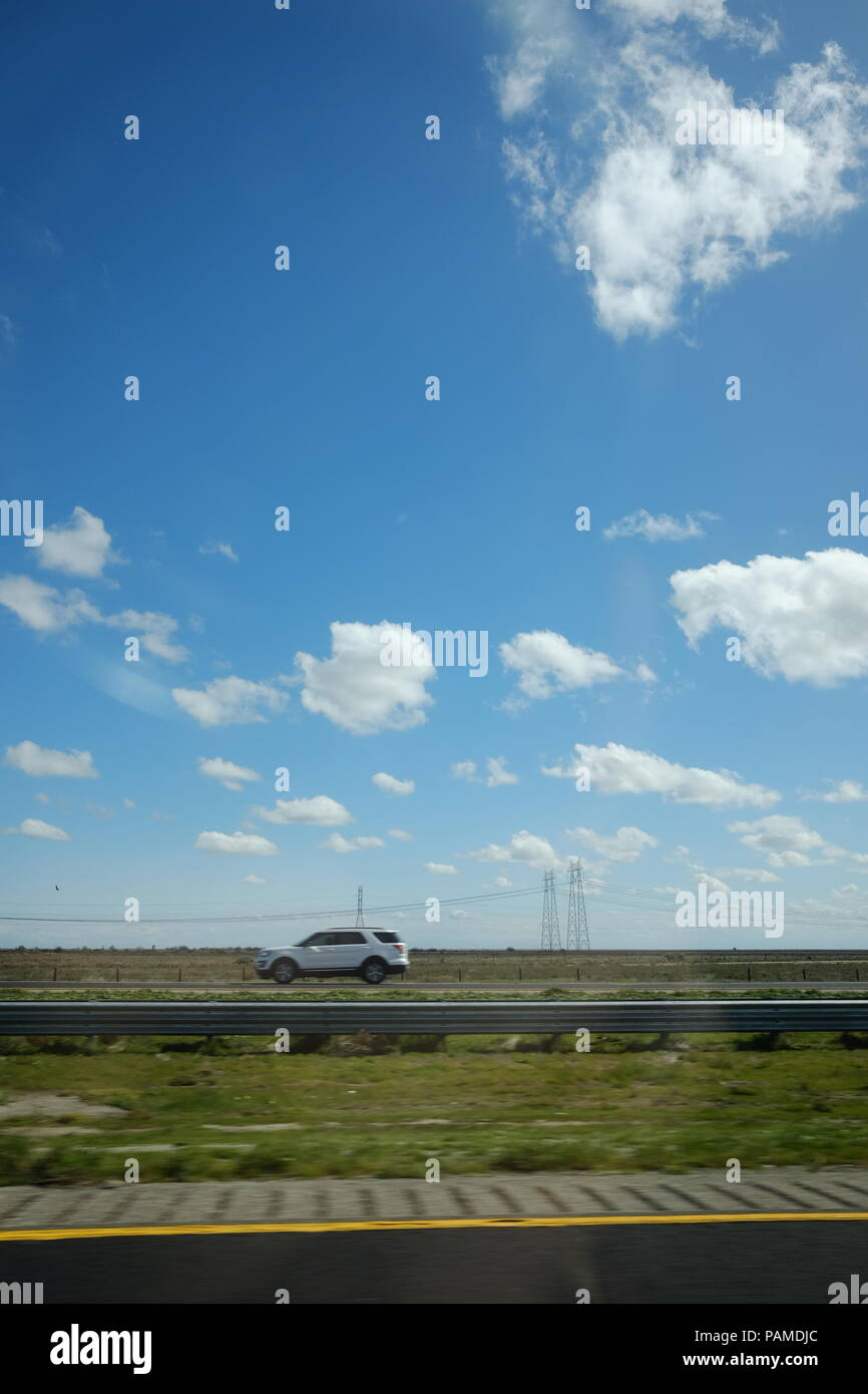 Bright Cloudy Sky of central California - Stock Image