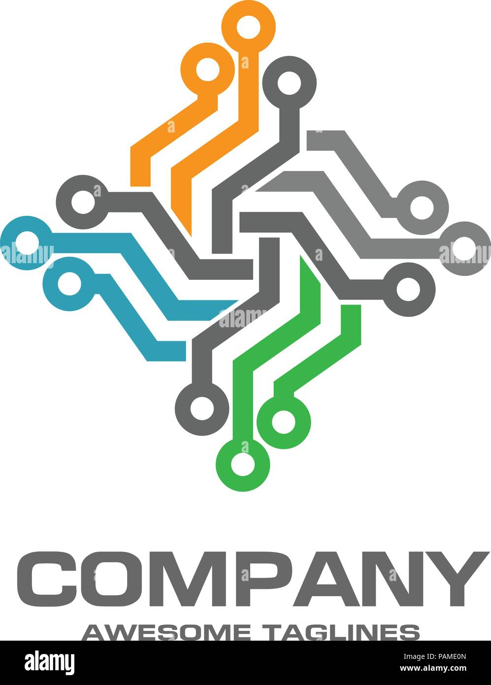 Digital Electronics Logo Design Creative Electronic Circuits Vector It Technology Concept