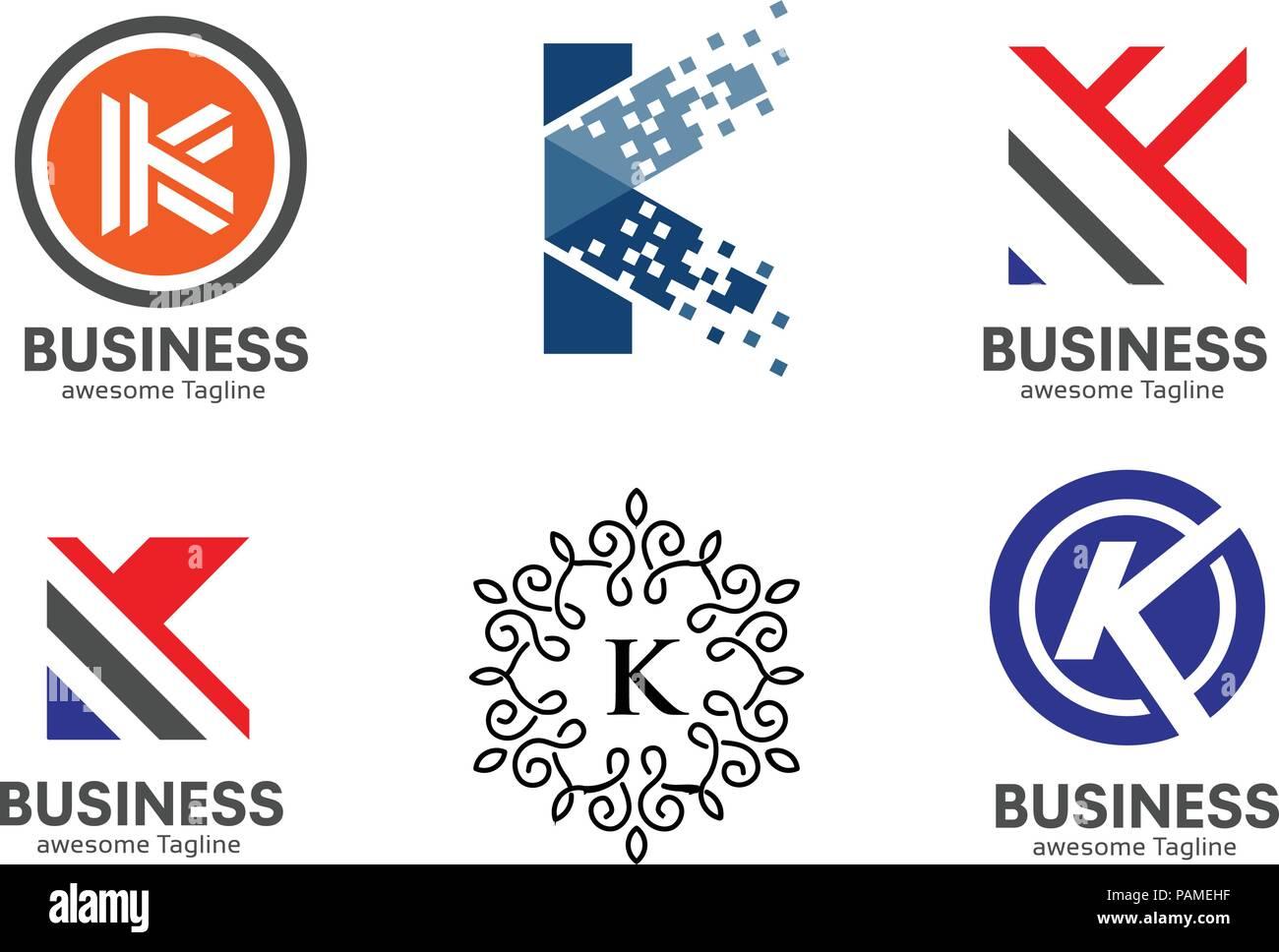 letter k logo set strong elegant classy concept creative letter k template logo set