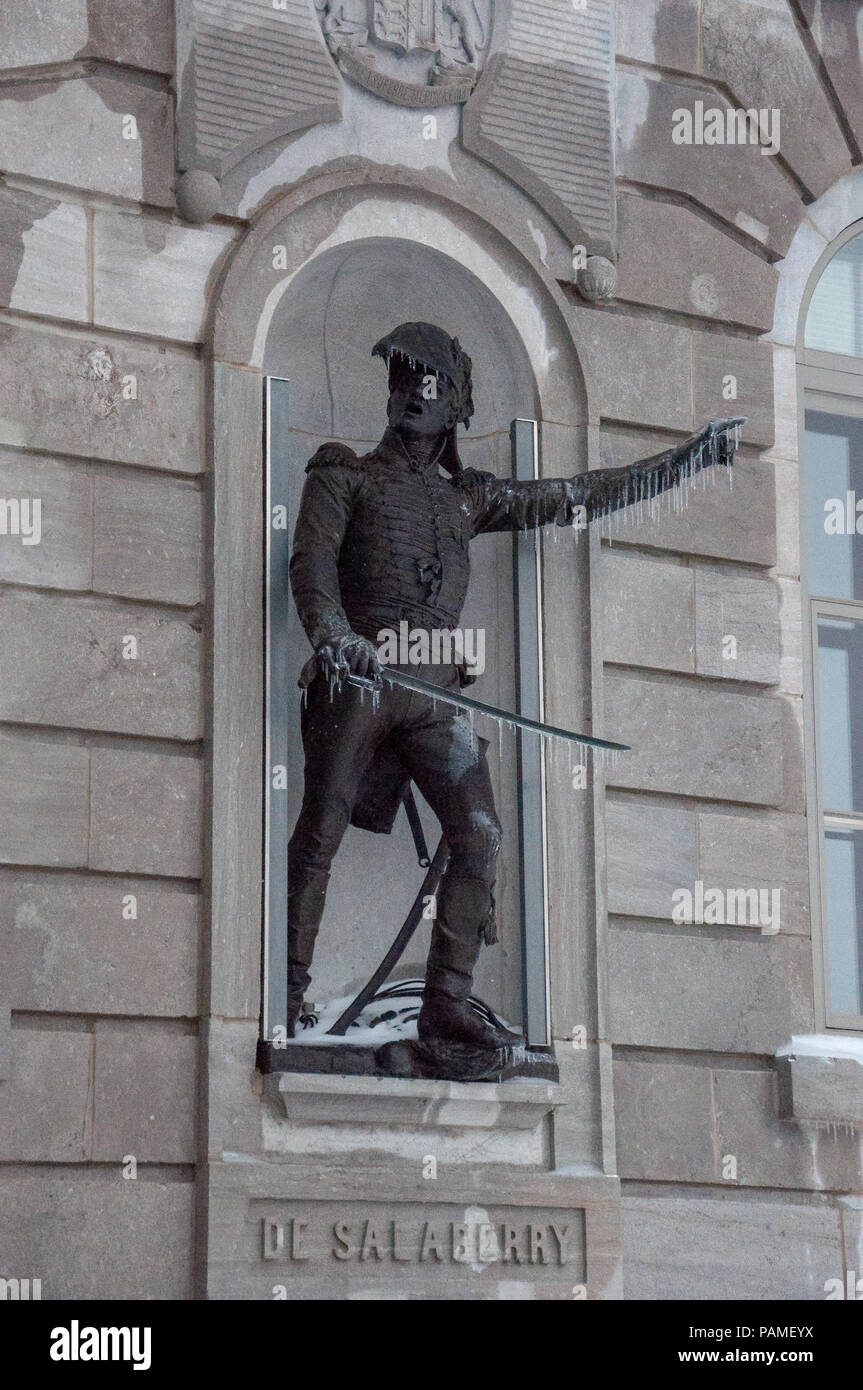 Statue of Lieutenant Colonel Charles-Michel d'lrumberry de Salaberry (1778-1829) on the Parliament Building constructed between 1877 and 1886 houses t - Stock Image