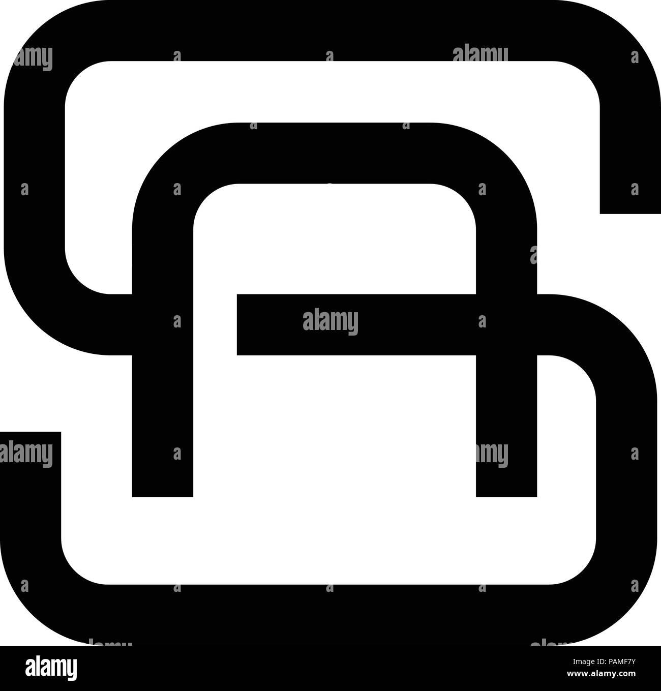 creative monochrome concept letter S, SA, letter AS flat black color logo design - Stock Vector