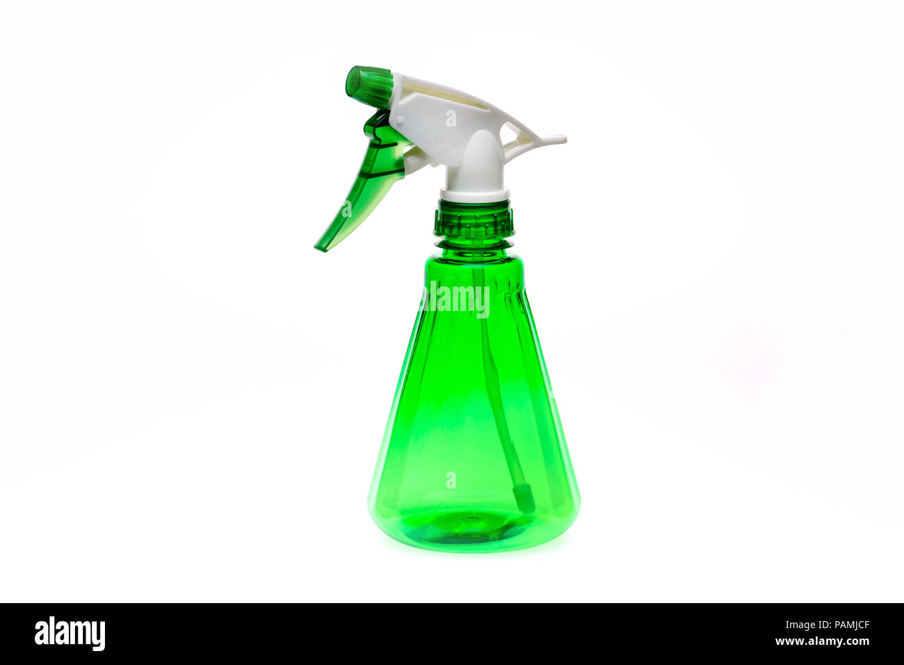 Plastic water spray bottle on a white background - Stock Image