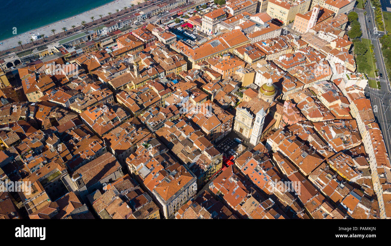 Aerial view of Old Town and Cathédrale Sainte-Réparate or Sainte-Réparate Cathedral, Nice, France Stock Photo
