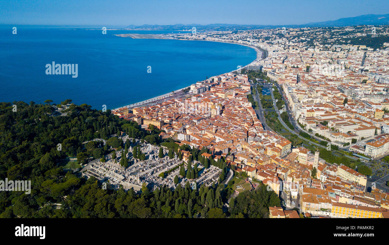 Castle Cemetery or  Cimetière du Château, overlooking the old town and the coast, Nice, France Stock Photo