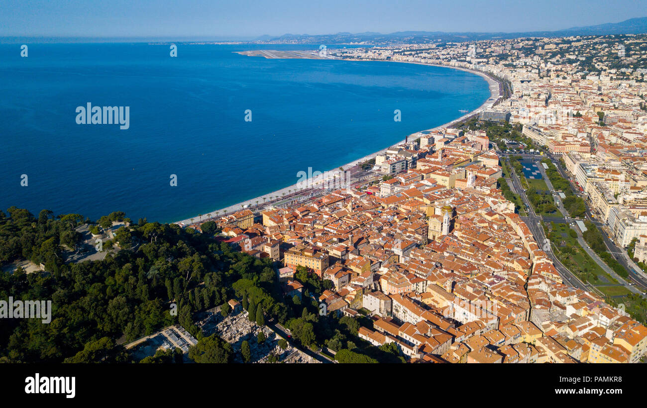 Aerial view of the French Riviera coastline at Nice, France - Stock Image