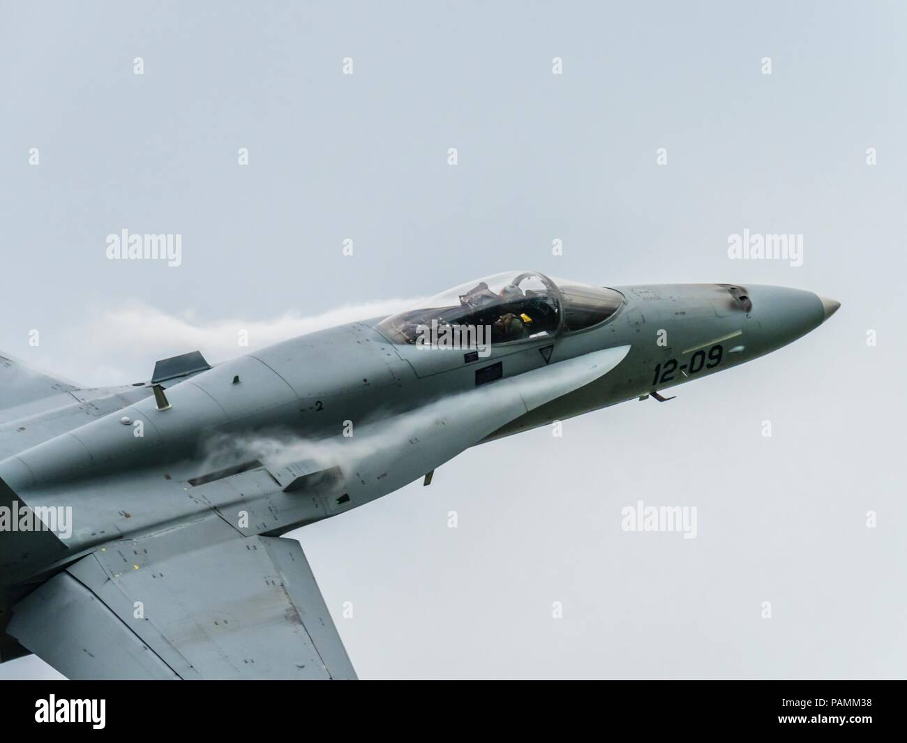F-18 Hornet Spain fly-by forntal part of fuselage Stock Photo