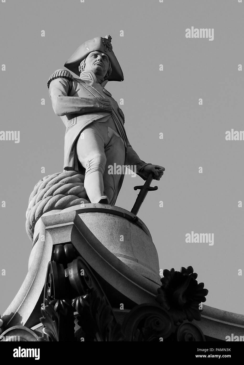 London, United Kingdom - September 11 2007:   The granite statue of Admiral Lord Horatio Neslon, sculpted by William Railton, atop Nelson's column in  - Stock Image