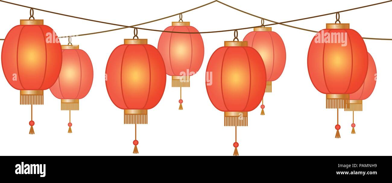 Garland With Chinese Lantern Chain Red Asian Traditional Paper Lamps Without Background Fairy Lights Footer And Banner For Decoration