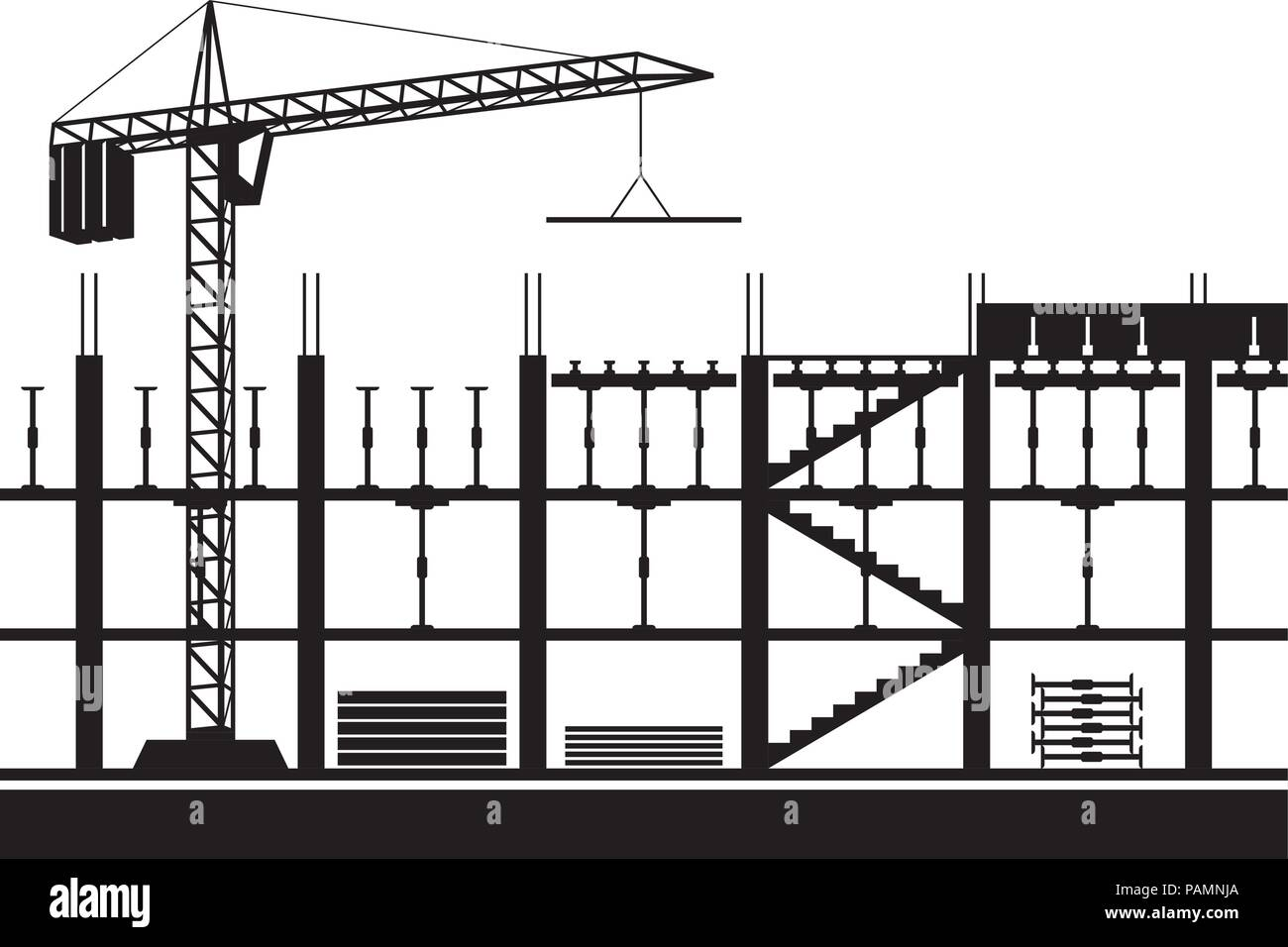 Construction of scaffolding for concrete slab - vector illustration - Stock Vector