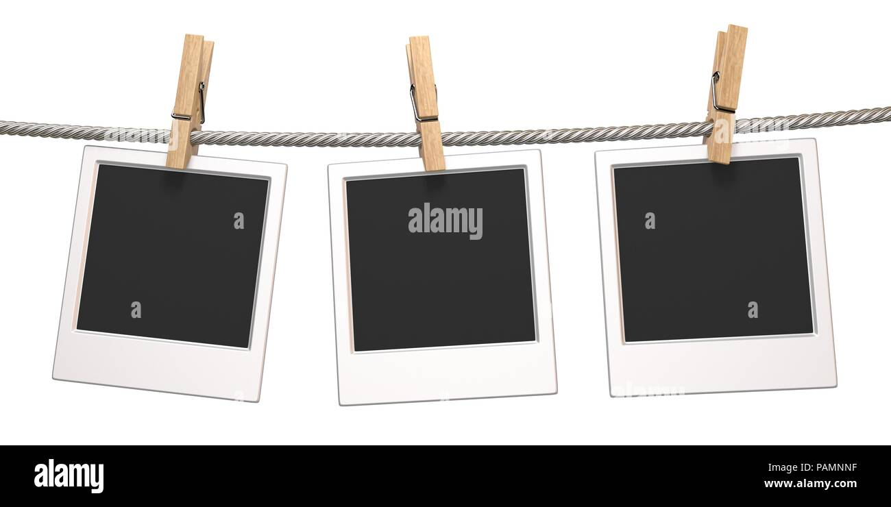 Clothes pin and three blank photo papers hanging on rope 3D render