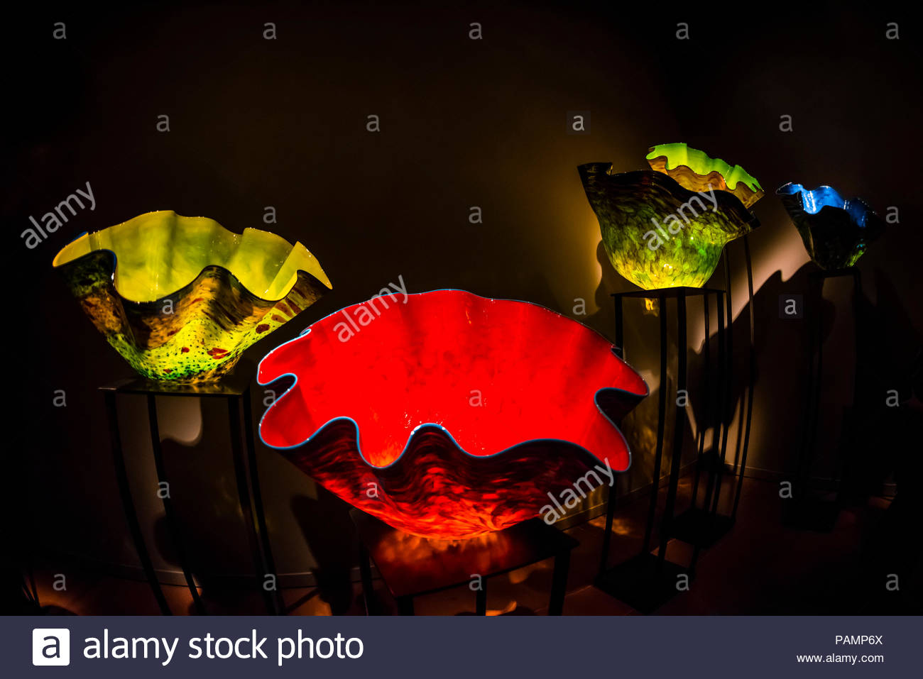 Macchia Forest exhibit (by glass artist Dale Chihuly), the Chihuly Garden and Glass Museum, Seattle Center, Seattle, Washington USA. - Stock Image